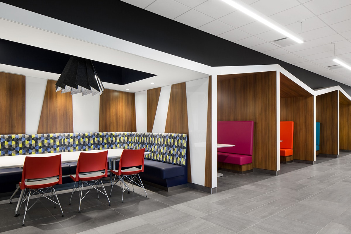 Dining area at National Bank's Distrcit in Montreal designed by VAD