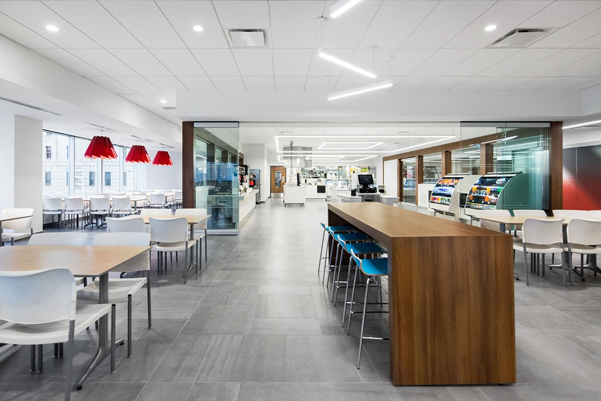 Cafeteria at National Bank's Distrcit in Montreal designed by VAD