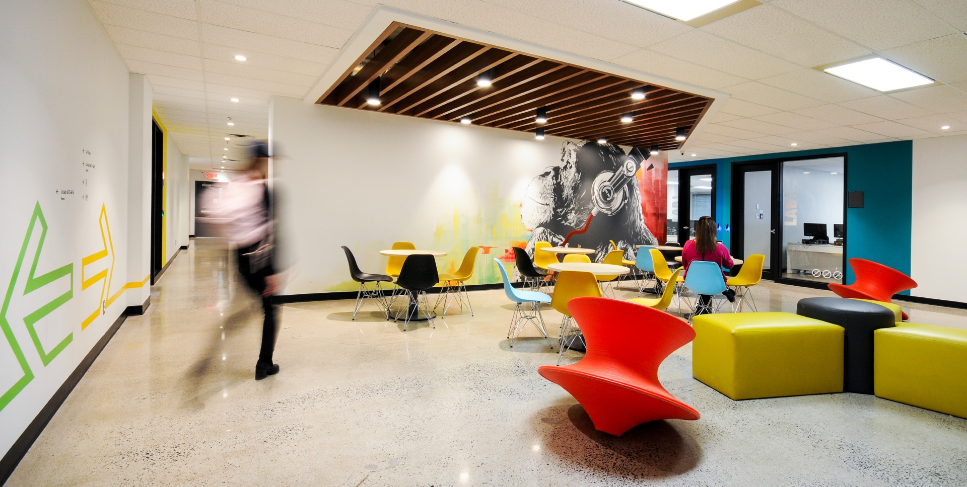 Lounge and art wall at LaSalle College in Montreal designed by VAD