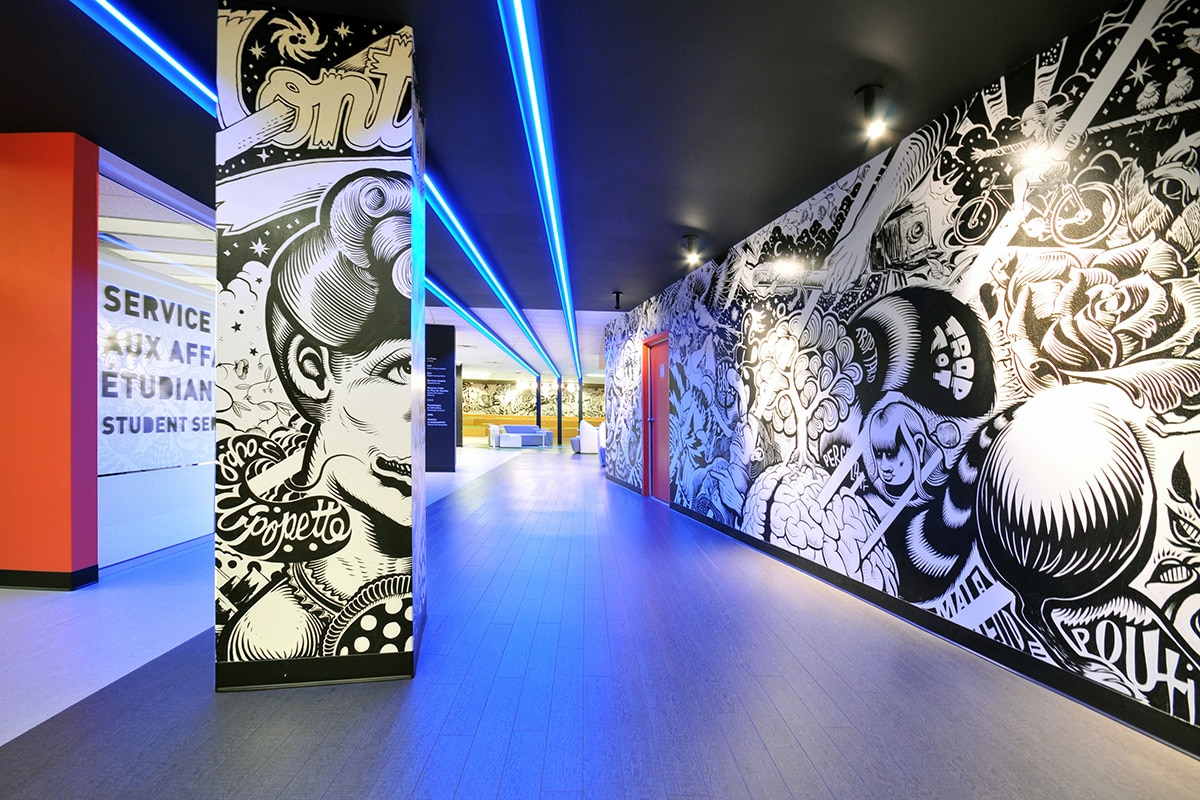 Graffiti art and lighting at LaSalle College designed by VAD