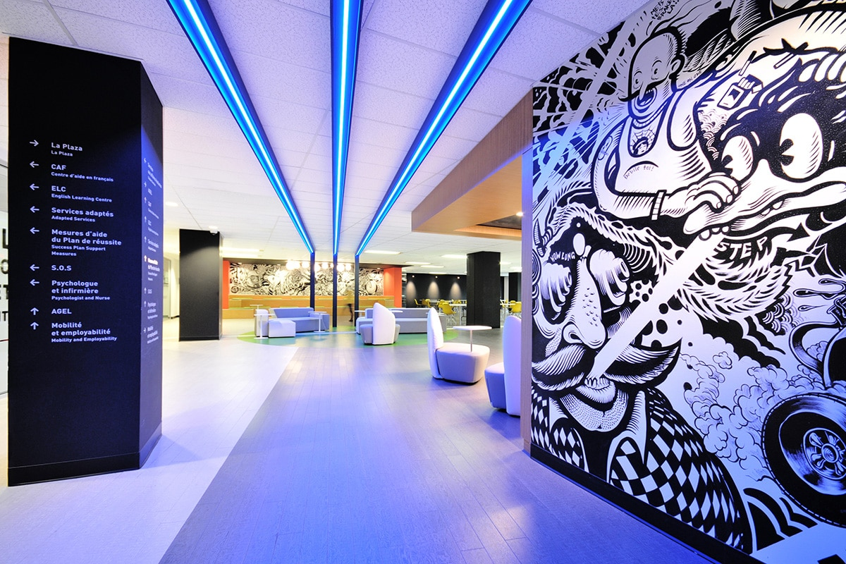 Student lounge and art mural at LaSalle College designed by VAD