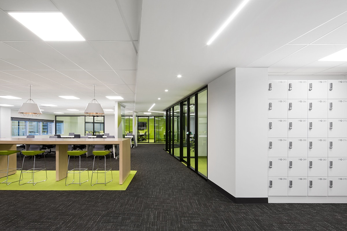 Lockers and workspaces at National Bank headquarters in Montreal designed by VAD