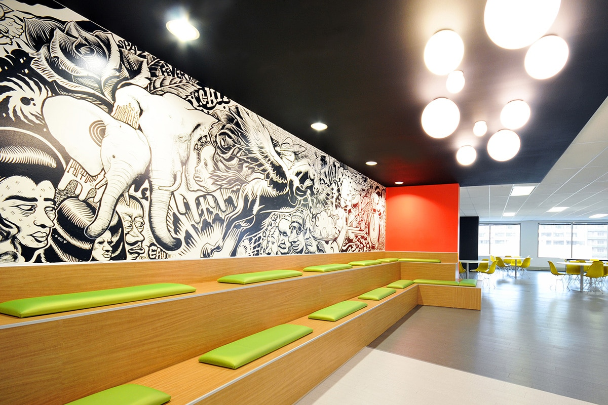 Podium seating and art mural at LaSalle College designed by VAD