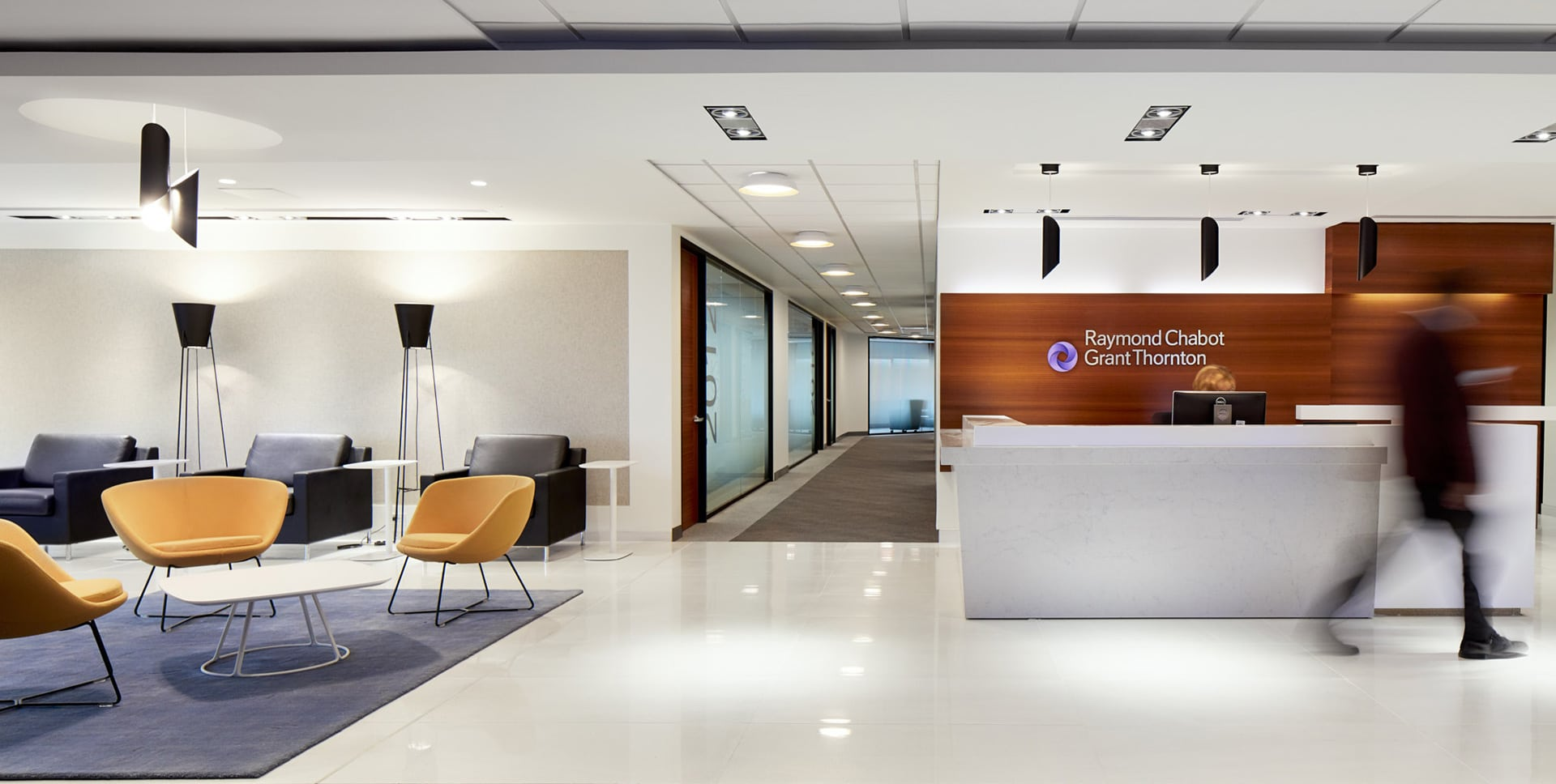 Reception and lounge in client zone at RCGT head office in Montreal designed by VAD
