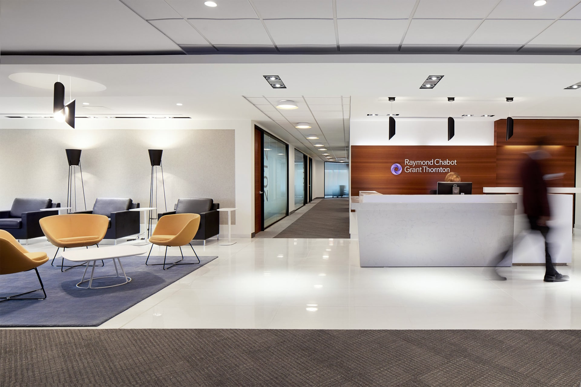 Reception and lounge of client zone at RCGT head office in Montreal designed by VAD