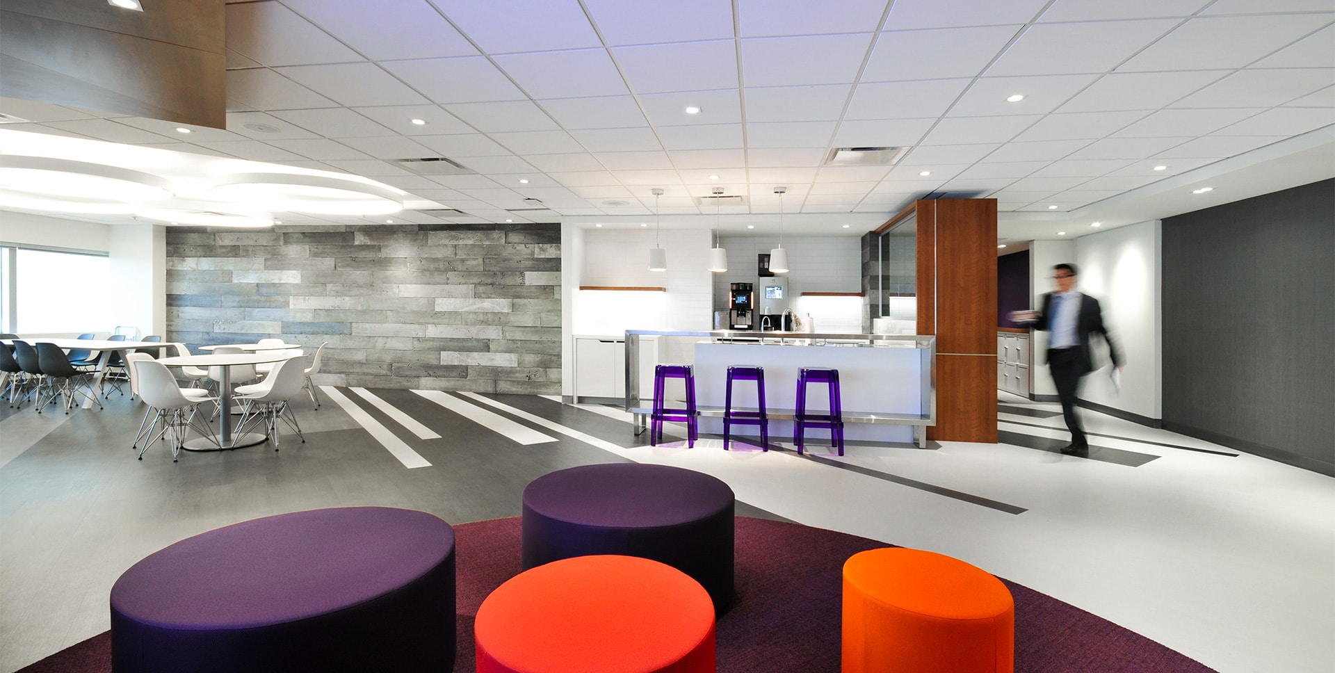 Cafeteria at RCGT headquarters in Montreal designed by VAD
