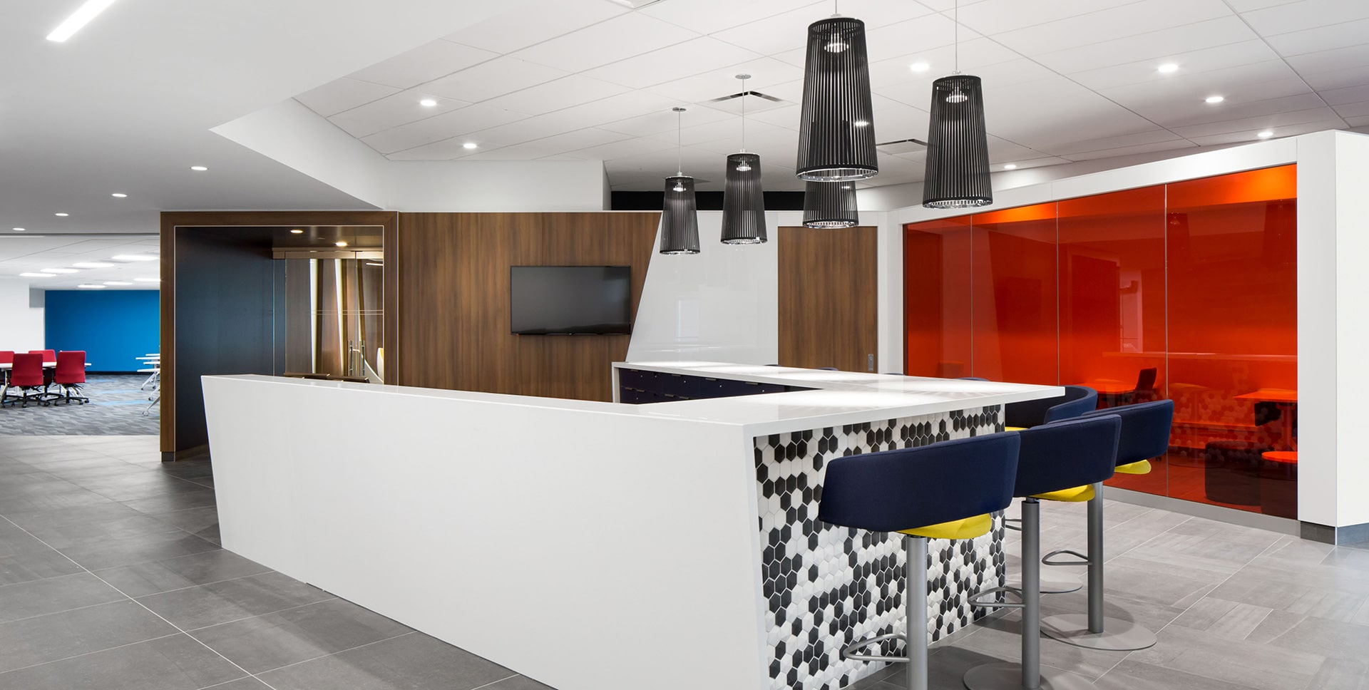 Tech bar at National Bank's District in Montreal designed by VAD