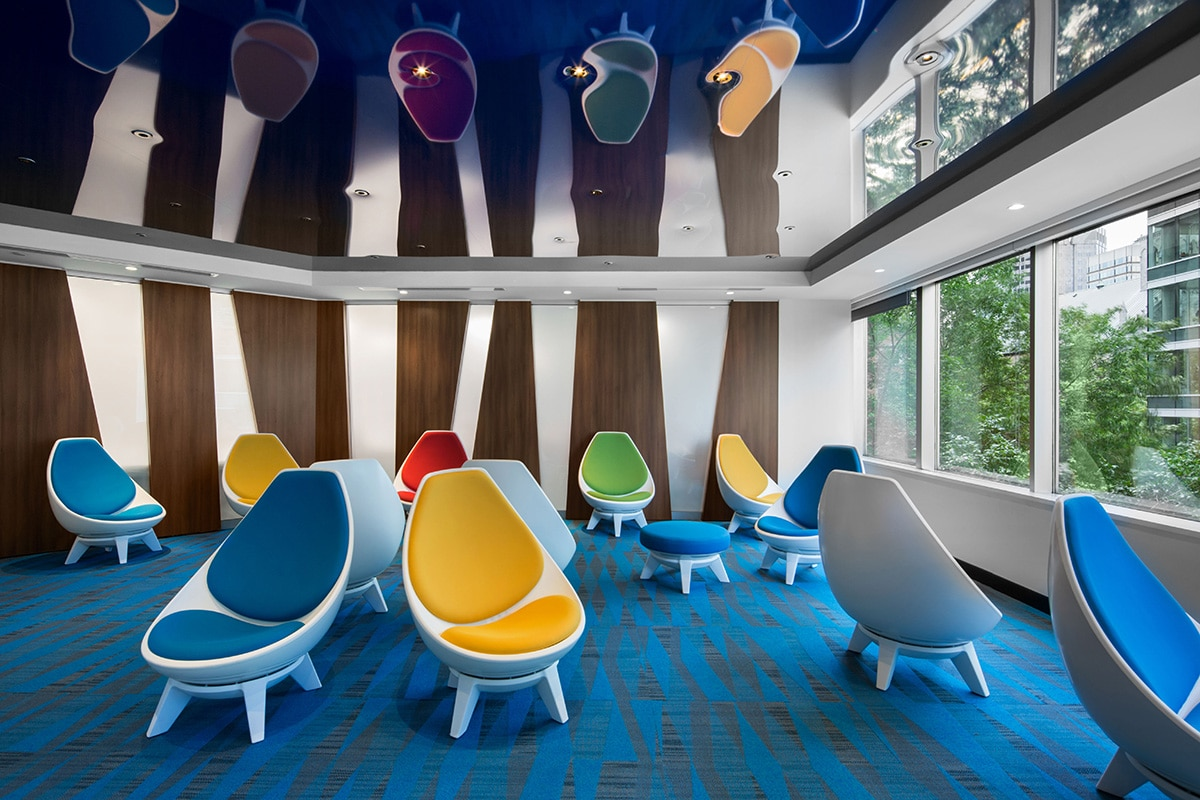 Lounge seating at National Bank's Distrcit in Montreal designed by VAD