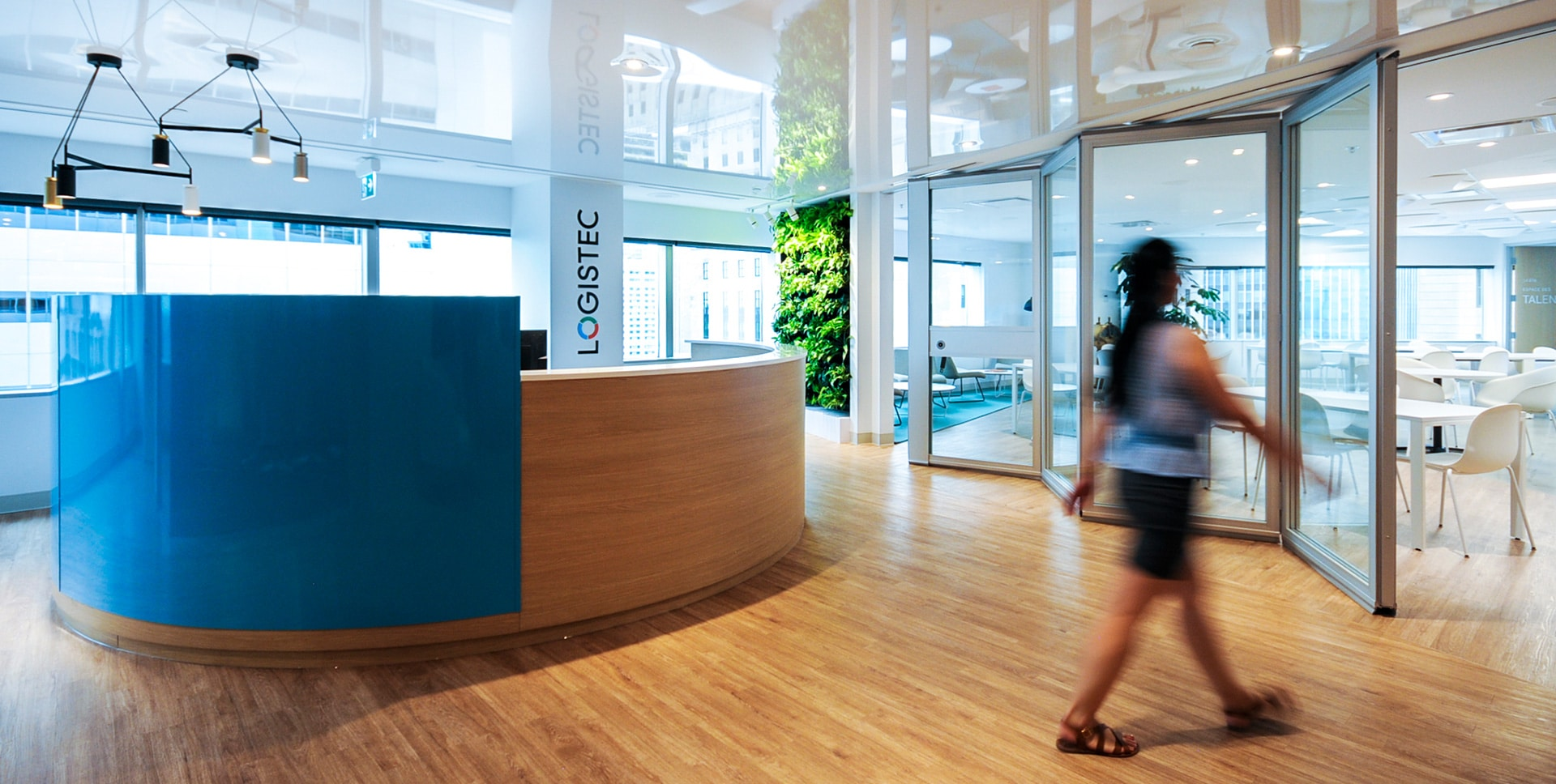 Reception at Logistec head offices in Montreal designed by VAD