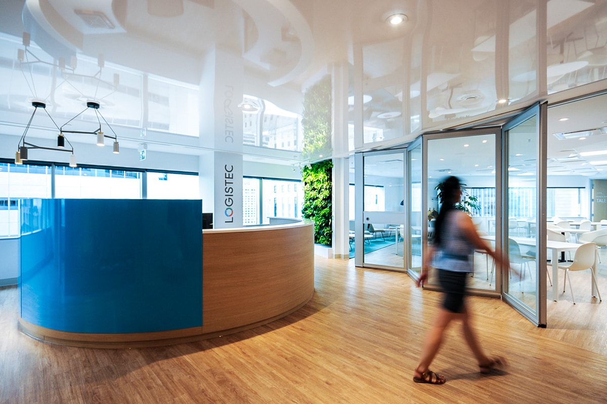Reception desk at Logistec headquarters in Montreal designed by VAD