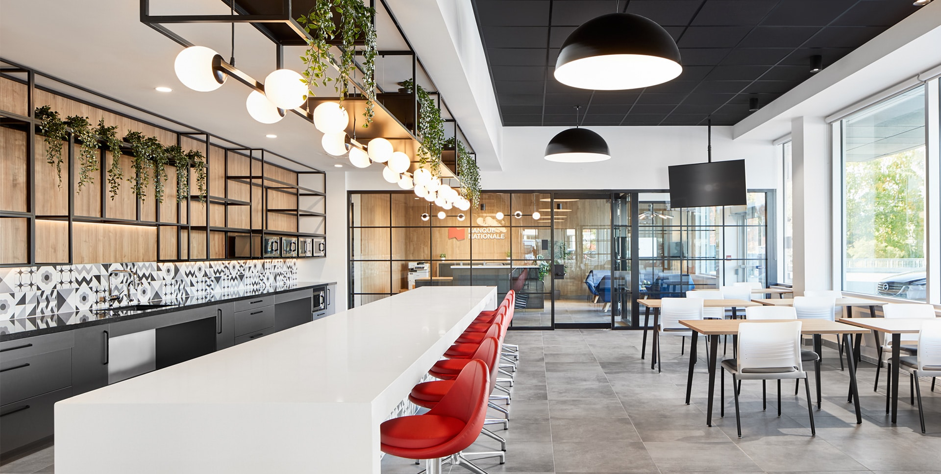 Cafeteria at National Bank offices in Sherbrooke designed by VAD